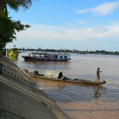 Locals on the Mekong river in Cambodia